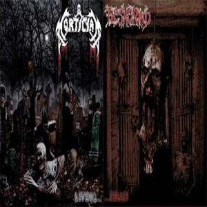 Mortician / Fleshgrind - Living... / ...Dead cover art