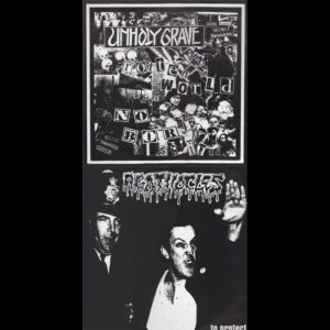 Unholy Grave / Agathocles - .....To Protect / Rotten World But No Bore Shit!! cover art